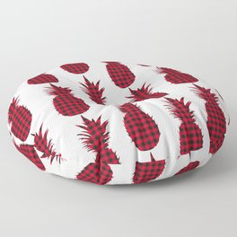 Red Plaid Pineapple Pattern Floor Pillow