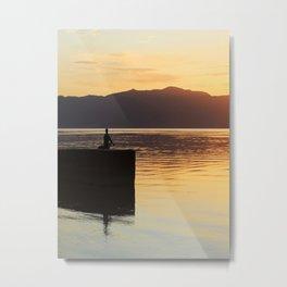 Meditation,lake, sunset, coast, poster,homedecor,gift, Metal Print