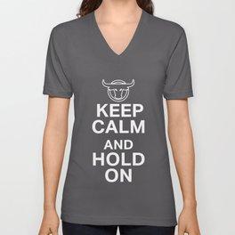 Keep Calm Hold on Bull Riding Gift Design Unisex V-Neck