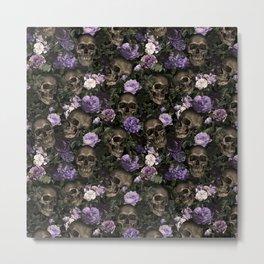 Skull and Rose Garden Metal Print