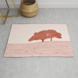 country trees rust tone washed out effect aesthetic landscape art photography Rug