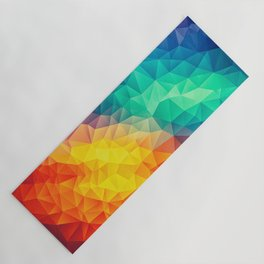 Abstract Polygon Multi Color Cubism Low Poly Triangle Design Yoga Mat