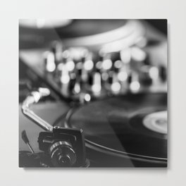 dj turntable record music aesthetic close up elegant mood art photography  Metal Print