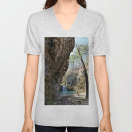 Alone in Secret Hollow with the Caves, Cascades, and Critters, No. 16 of 21 Unisex V-Neck