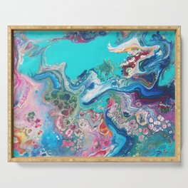 Rainbow Sea Dragon - Abstract Acrylic Art by Fluid Nature Serving Tray