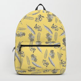 Leaves and Flowers Yellow and Grey Backpack