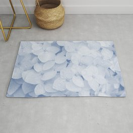 hydrangea navy tone botanical art washed out effect aesthetic photography Rug
