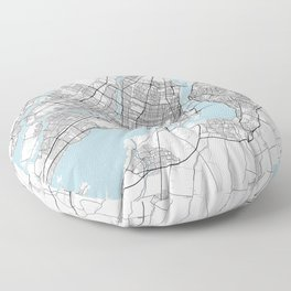 Montreal City Map of Canada - Circle Floor Pillow