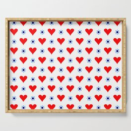 heart and star 5 - blue star and red heart Serving Tray