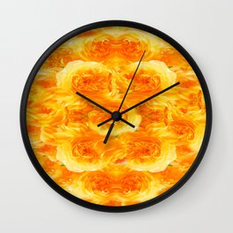 MODERN  GOLDEN ROSES FLOWERS CARPET Wall Clock