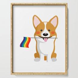 LGBT Gay Pride Flag Corgi - Pride Women Gay Men Serving Tray