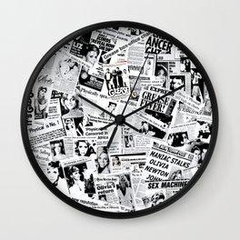 Olivia Newton-John - 40 years of Newspaper Headlines Collage Wall Clock