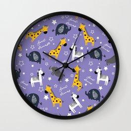 Sweet dreams little one zoo animals cute pattern purple Wall Clock