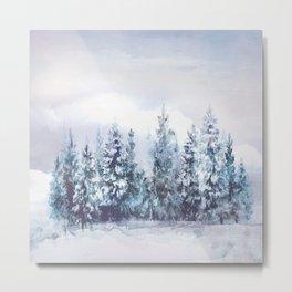 Frozen Forest Lake Metal Print