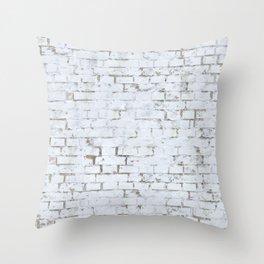 Vintage White Brick Wall Throw Pillow
