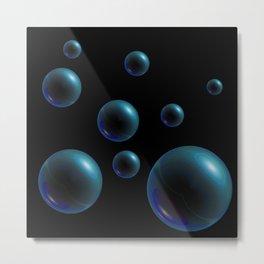 Floating Spheres - Turquoise Metal Print