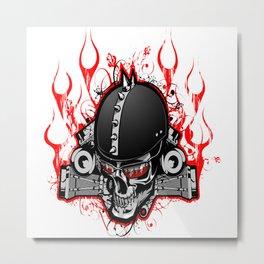 Biker Fire Skull Metal Print