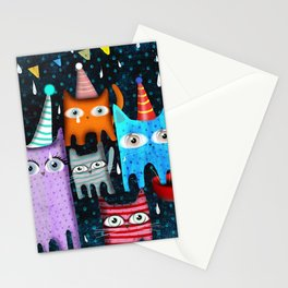 Raining Night Cats Party Stationery Cards