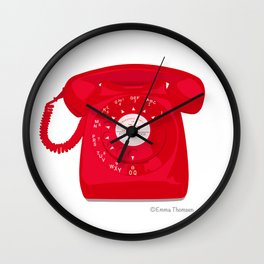 Red Vintage Telephone Wall Clock