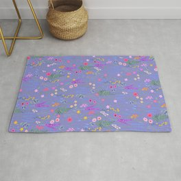 blue meadows colorful floral pattern Rug