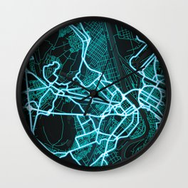 Ludwigshafen am Rhein, Germany, Blue, White, Neon, Glow, City, Map Wall Clock