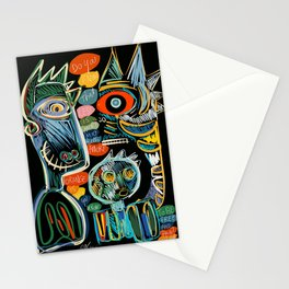 Graffiti Art Creatures Rainbow Colors and Words  Stationery Cards