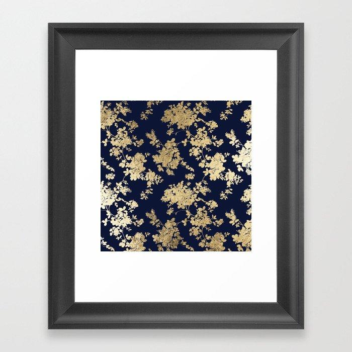 Elegant vintage navy blue faux gold flowers Gerahmter Kunstdruck
