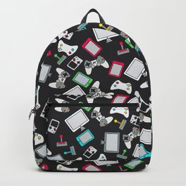 Retro Gamer Video Controller Gaming Pattern Black Backpack