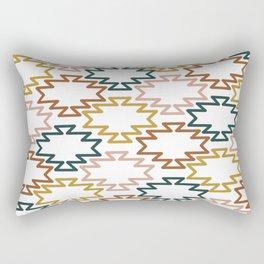 Southwest Azteca - Minimalist Geometric Pattern in Rust, Mustard, Blue, and Blush on White Rectangular Pillow