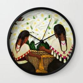 Vendedora de Alcatraces - Calla Lily Flower Sellers by Diego Rivera Wall Clock