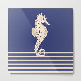 AFE Navy & Beige Seahorse Metal Print