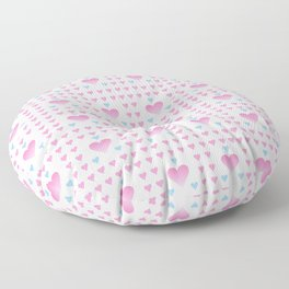 heart and love 9 - blue and white Floor Pillow