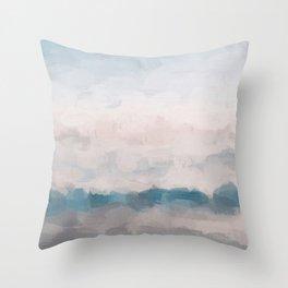 Baby Blue Blush Pink Sky Coastal Waves Abstract Nature Ocean Painting Art Print Wall Decor  Throw Pillow