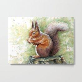 Squirrel Watercolor Painting Metal Print
