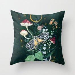 Mushroom night moth Throw Pillow