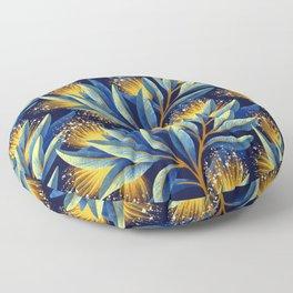 Pohutukawa - Yellow / Blue Floor Pillow