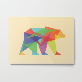 Fractal Geometric bear Metal Print