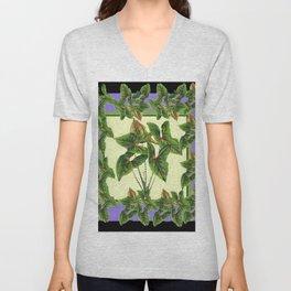 Green Tropical Botanical Foliage  Lilac-Black Art Unisex V-Neck