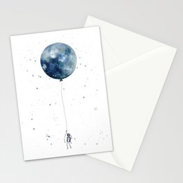 Astronaut Flying High on Moon Balloon Stationery Cards