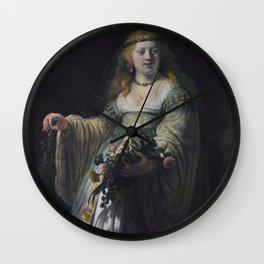 Saskia van Uylenburgh in Arcadian Costume Wall Clock