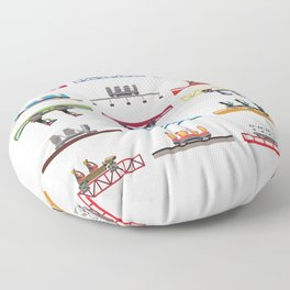 Cedar Point Coaster Cars Design Floor Pillow