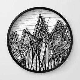Black & White Mountains Wall Clock