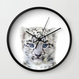 Baby Snow Leopard, Baby Animals Art Print By Synplus Wall Clock
