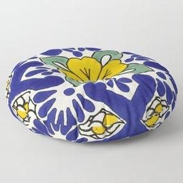 talavera mexican tile in yellow Floor Pillow