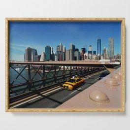 New York Skyline / Brooklyn Bridge Serving Tray