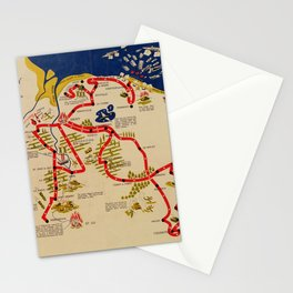 Vintage Omaha Beach D-Day Invasion Map (1945) Stationery Cards