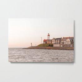 Lighthouse At Sunset Sea View Photo | Coast Of Dutch Village Urk Art Print | Europe Travel Photography Metal Print