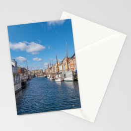 Nyhavn Canal under a blue sky with some clouds Stationery Cards