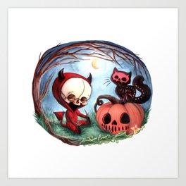 Halloween Devil Skellie Art Print