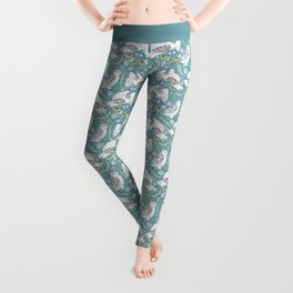 Snowy Owls on a Snowy Day - Teal Background Leggings
